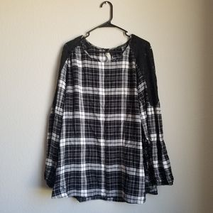 Black and White Plaid with Lace top